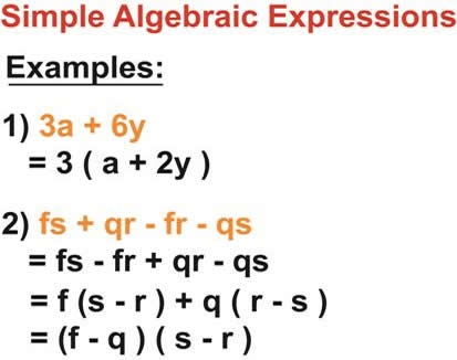Factorisation of Simple Algebraic Expressions - Solved Examples