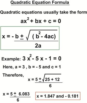 Solving Trinomial Equations Using The Quadratic Formula