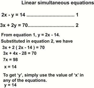 equations solved by substitution solving simultaneous equations ...